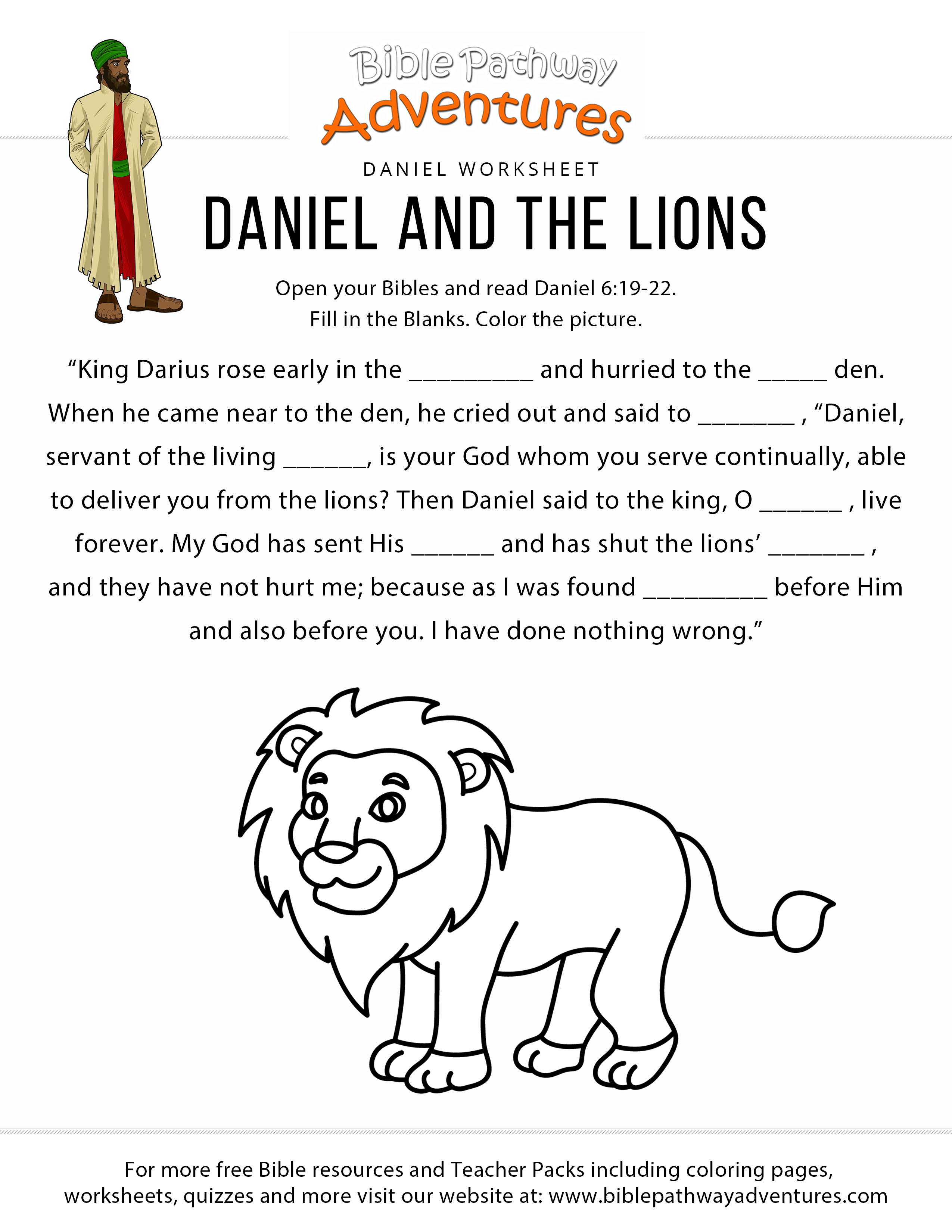 Daniel And The Lions Worksheet Bible Pathway Adventures