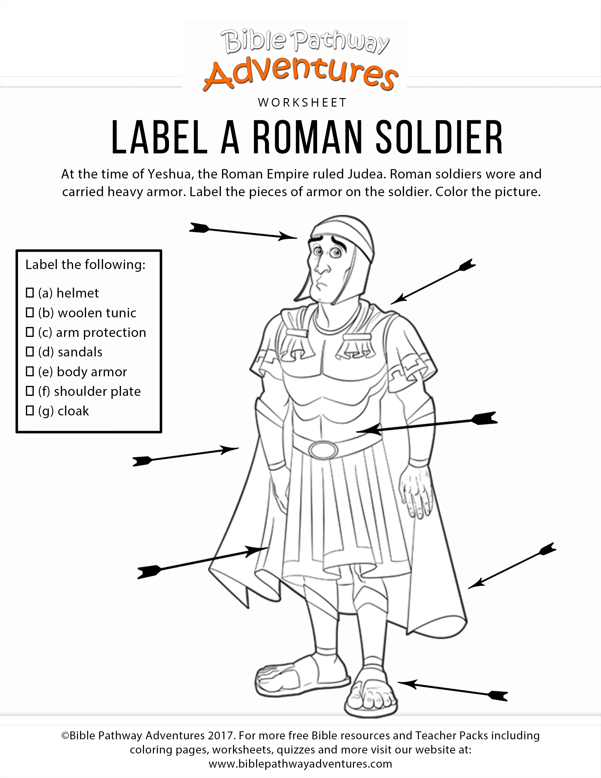 Label A Roman Sol R Coloring Page And Worksheet Bible Pathway Adventures