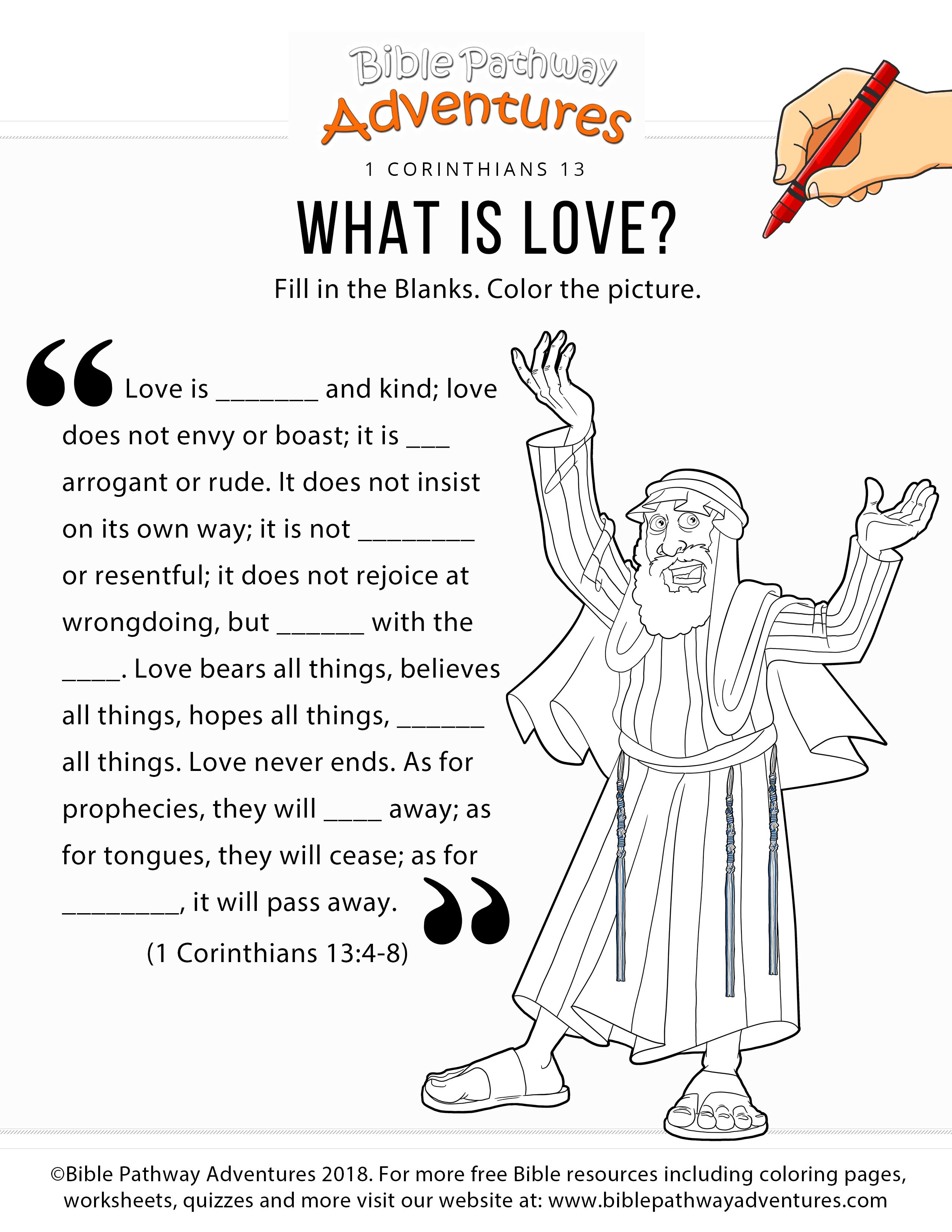 What Is Love Worksheet Bible Pathway Adventures