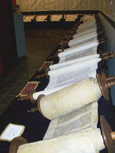 Tanakh Scrolls unrolled (Torah is at the bottom)