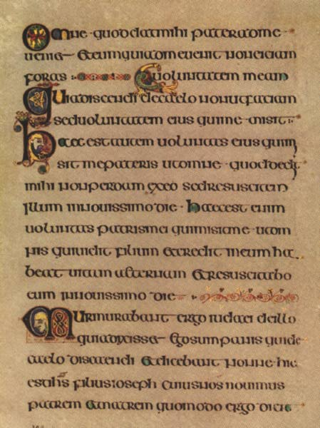Book of Kells, Page from Gospel of John, about A.D. 800