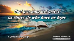 """Daily Readings & Thought for November 17TH. """"THAT YOU MAY NOT GRIEVE AS OTHERS DO WHO HAVE NO HOPE"""""""