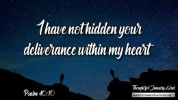 """Daily Readings & Thought for January 22nd. """"I HAVE NOT HIDDEN ..."""""""