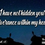 "Daily Readings & Thought for January 22nd. ""I HAVE NOT HIDDEN …"""