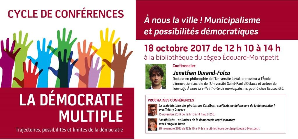 Conférence «À nous la ville ! Municipalisme et possibilités démocratiques» à la bibliothèque du campus de Longueuil