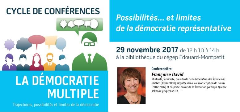 Conférence de Françoise David à la bibliothèque du campus de Longueuil