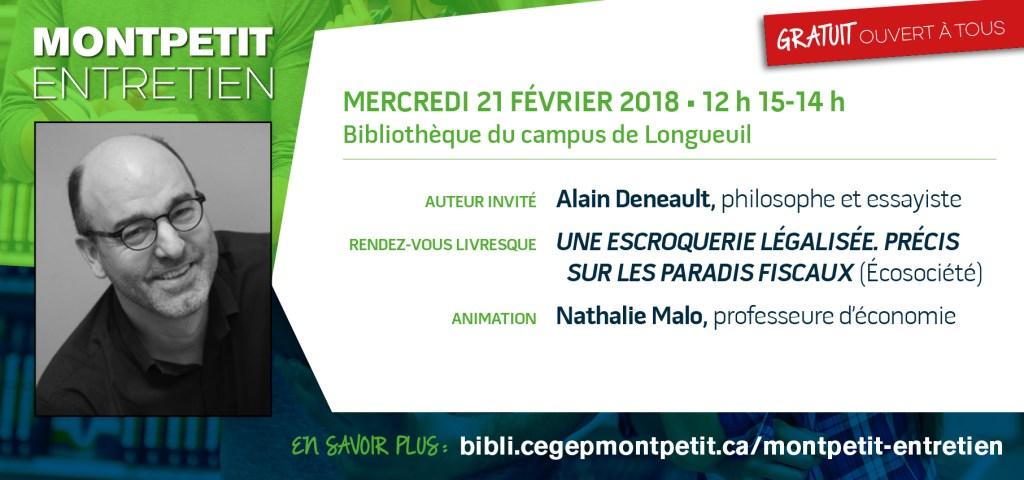 Alain Deneault est le prochain invité des «Montpetit entretien»