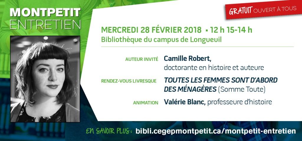 L'auteure Camille Robert au «Montpetit entretien»