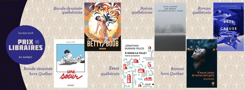 Lauréats des Prix des libraires du Québec 2018