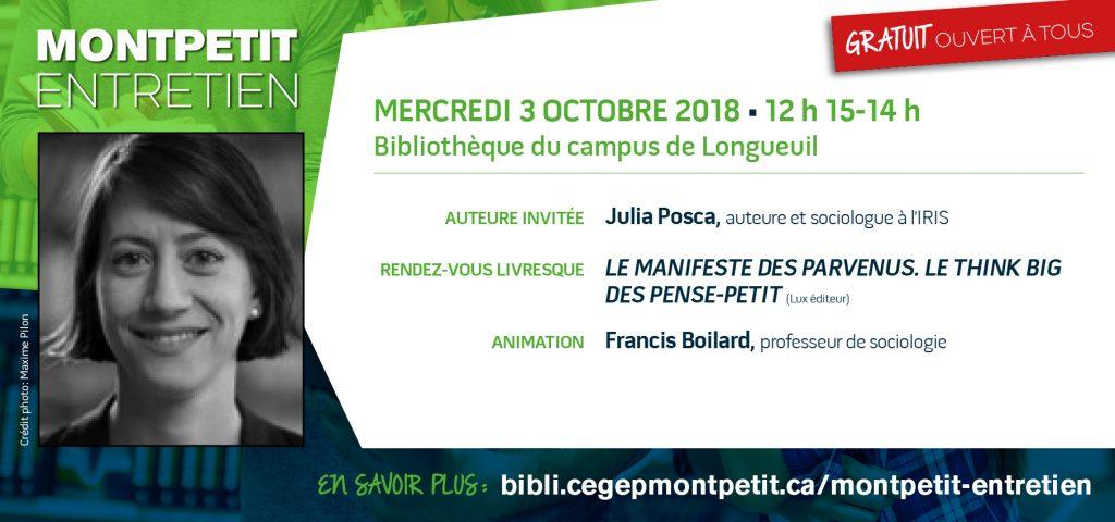 """CE MERCREDI : Julia Posca est la prochaine invitée des """"Montpetit entretien"""""""