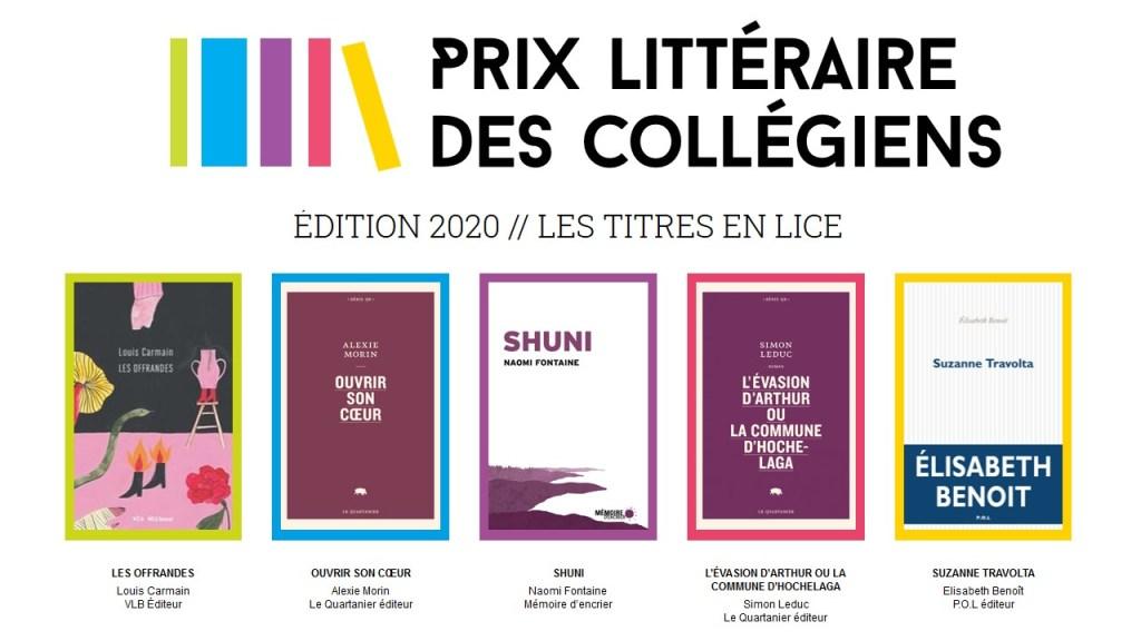 Finalistes du Prix littéraire des collégiens 2020