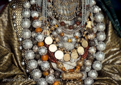 Photograph of Yemenite Jewish golden ceremonial  gold and silver