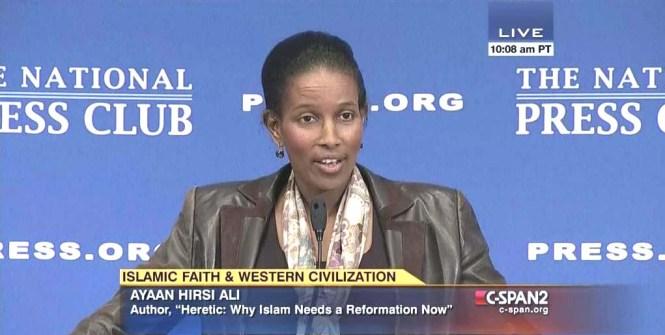 Ayaan Hirsi Ali speaking at the National Press Club