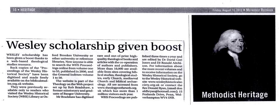 "BiblicalStudies.org.uk ""Gives Boost to Methodist Scholarship"" 1"