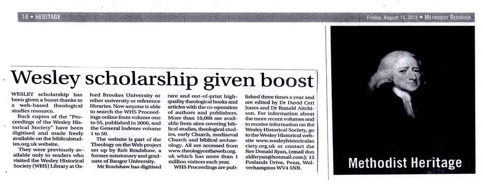 "BiblicalStudies.org.uk ""Gives Boost to Methodist Scholarship"" 1"