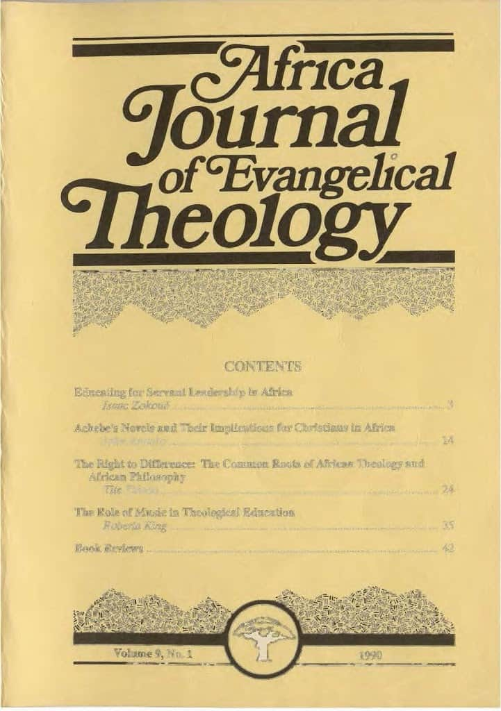 Africa Journal of Evangelical Theology Vols. 9-20 Now Online 1