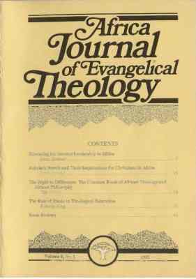 Africa Journal of Evangelical Theology Vols. 9-20 Now Online 2