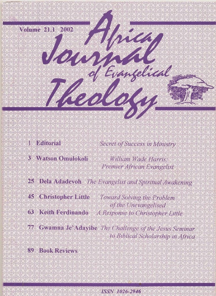 Africa Journal of Evangelical Theology Vols. 21-30 Now Online 1
