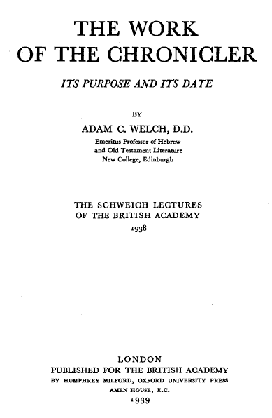 Welch's The Work of the Chronicler (1939) now available on-line 1