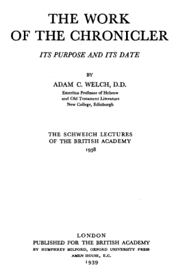 Welch's The Work of the Chronicler (1939) now available on-line 2