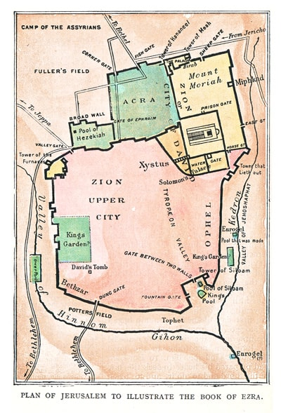 Map of Jerusalem to Illustrate the Book of Ezra by Frank Marshall