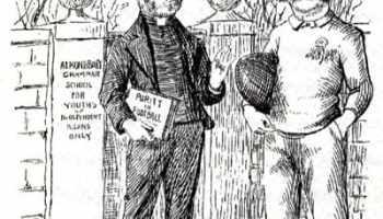 Rev. Frank Marshall (left) portrayed in a satirical cartoon