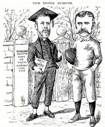 Rev. Frank Marshall (left) portrayed in a satirical cartoon