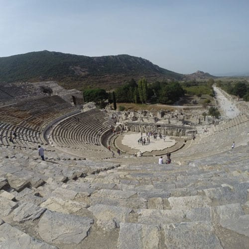 Theatre and harbour street, Ephesus