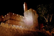 The Tower of David or King David citade at night in Jerusalem Israel.