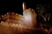 The Tower of David or King David citade at night in Jerusalem Israel.