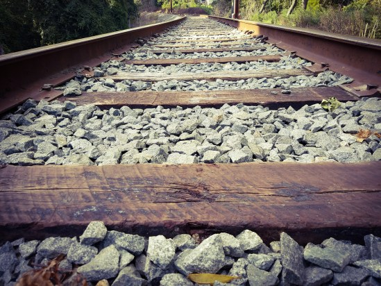 a vintage looking railroad track close up