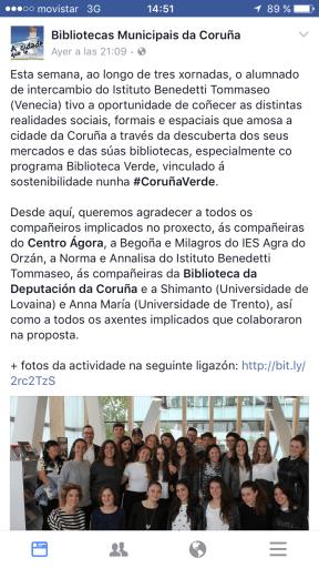Facebook de Bibliotecas municipais de A Coruña
