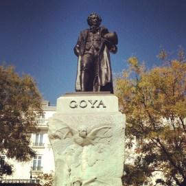 Goya statue outside the entrance of Prado Museum