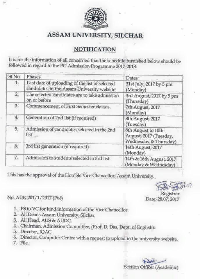 PG Admission Schedule Notification of Assam University