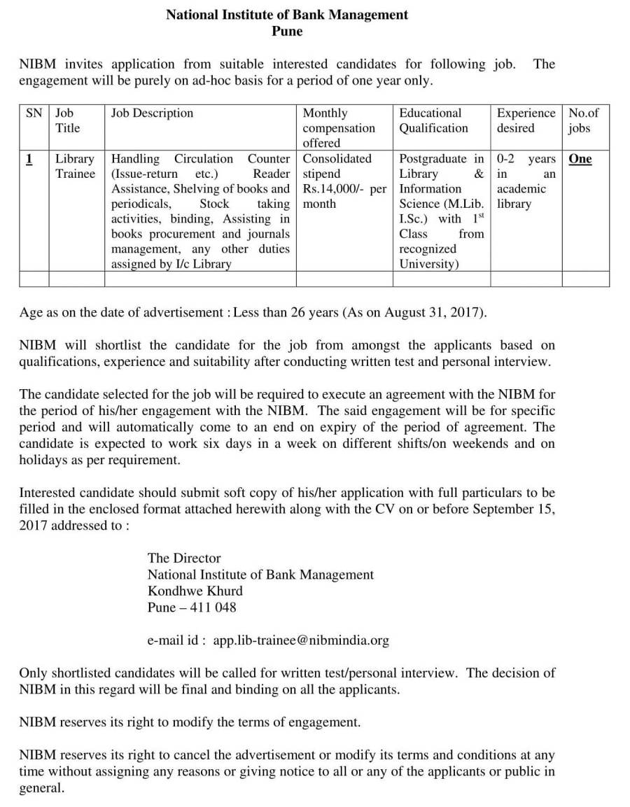 Adv for Library Trainee as per format of BOM-1.jpg