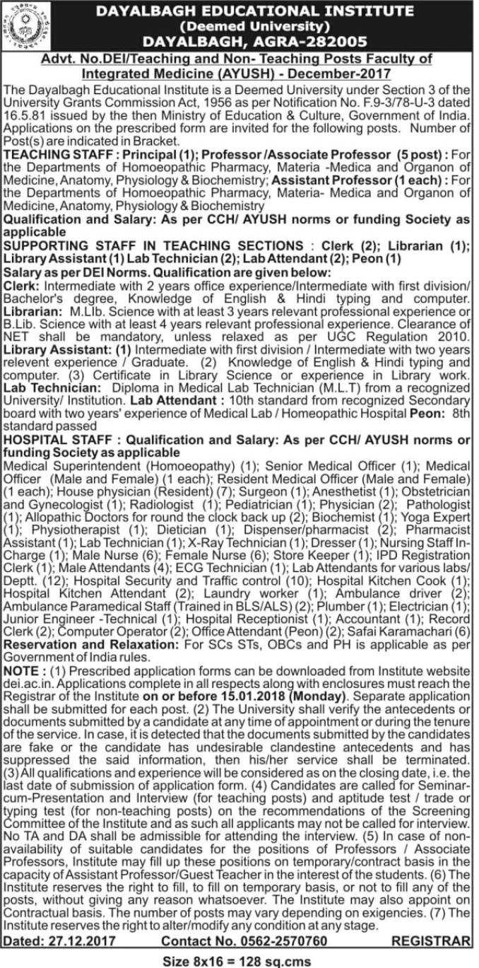 Advt No DEI-Teaching and non-Teaching Posts Faculty of Integrated Medicine (AYUSH)- December-2017-1.jpg