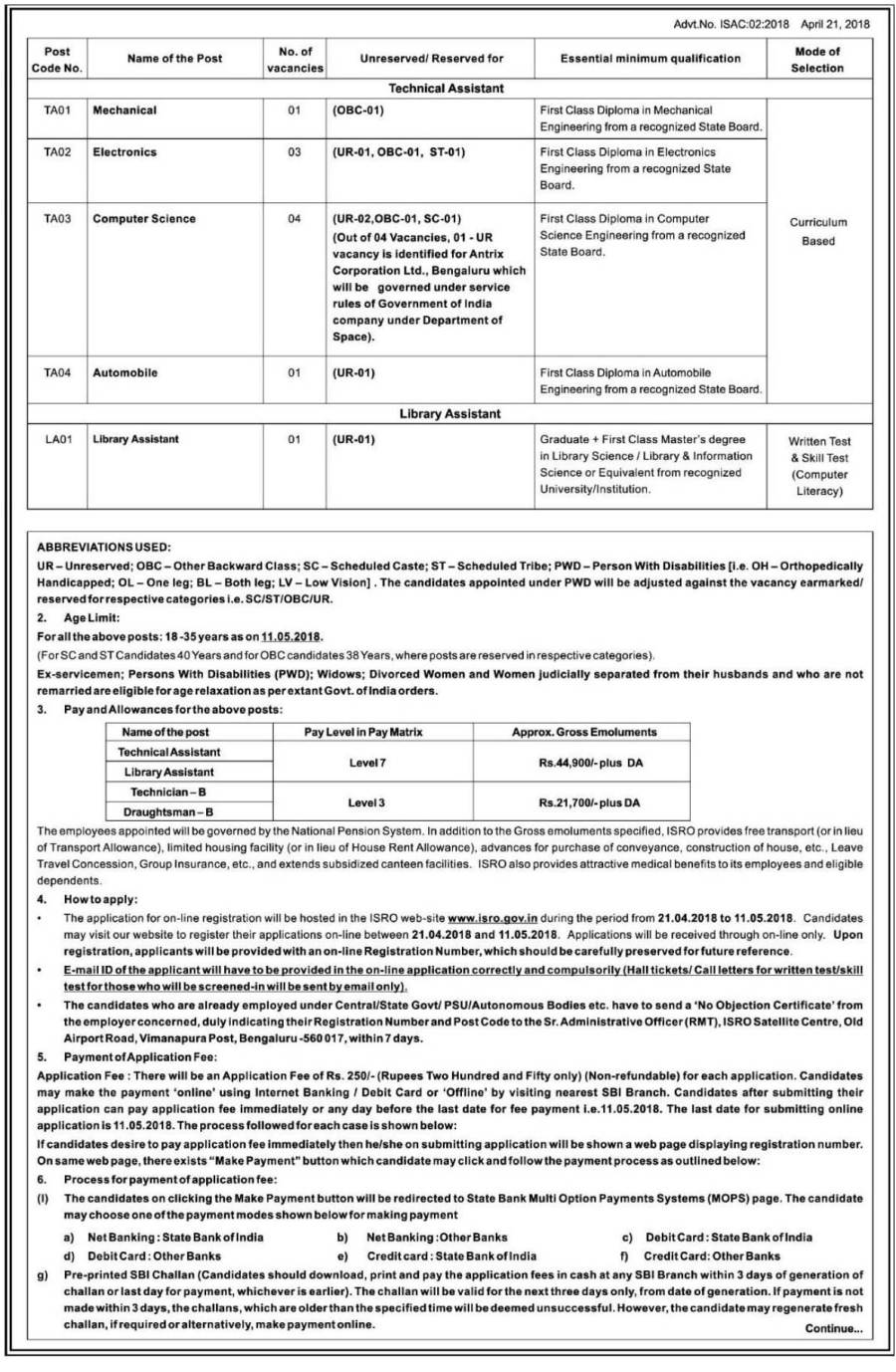 Recruitment for Library Assistant Post at ISRO Satellite