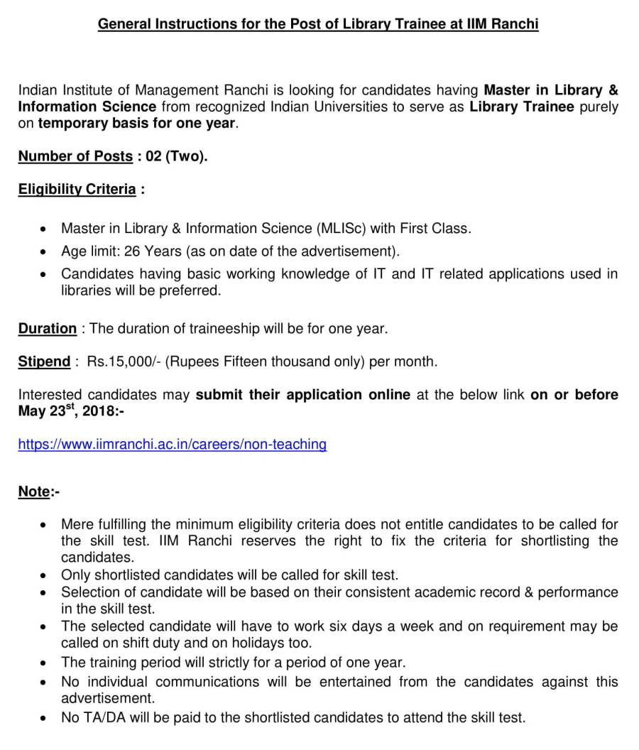 Advertisement  for the Post of  Library Trainee - 2018-2.jpg