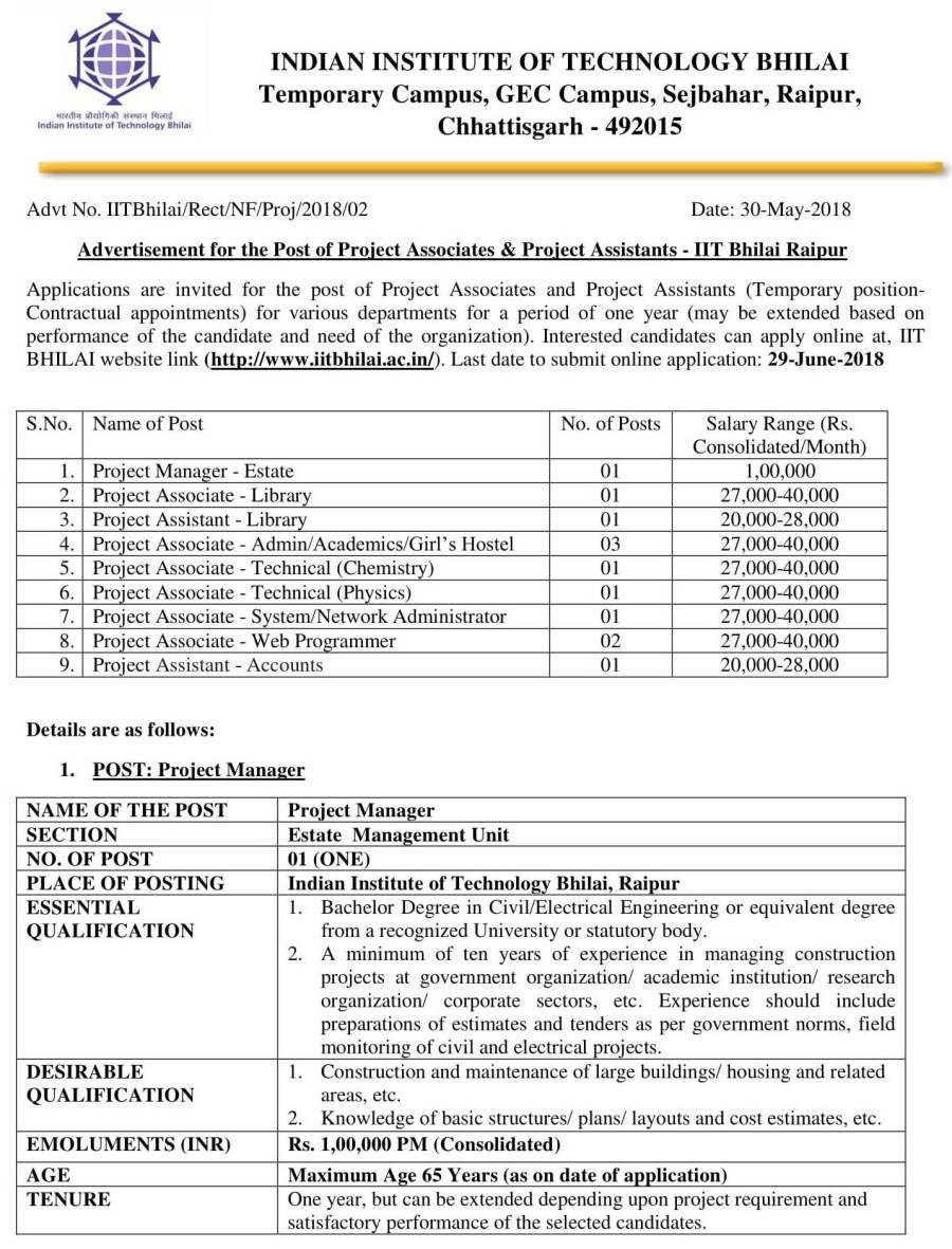 2017-7-18-Draft Advertisement for project staffs- IIT BHILAI-NEW-1