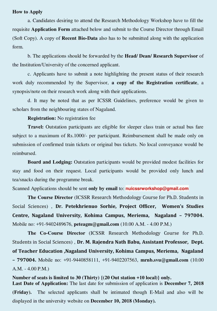 ICSSR Sponsored Ten Days Workshop on 'Research Methodology Course