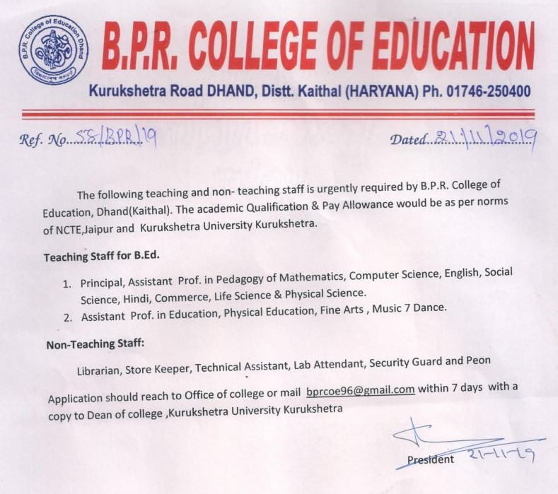 ADVERTISEMENT OF TEACHING & NON-TEACHING STAFF OF B_P_R_COLLEGE OF EDUCATION , DHAND ((KAITHAL) 001.jpg