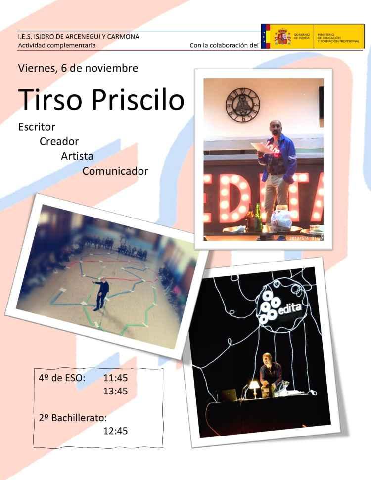 Cartel anunciador visita Tirso Priscilo