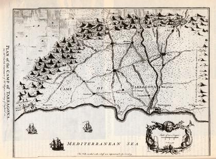 Mapa del Camp de Tarragona, gravat militar anglès de la Guerra de Successió