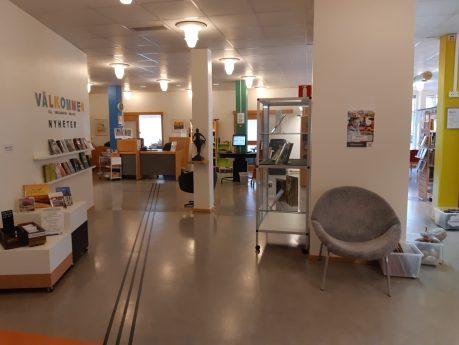 Bilden visar hur det ser ut på Skillingaryds bibliotek med disken rakt fram.