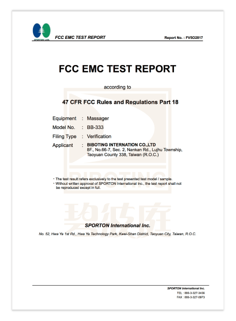 Certification FCC