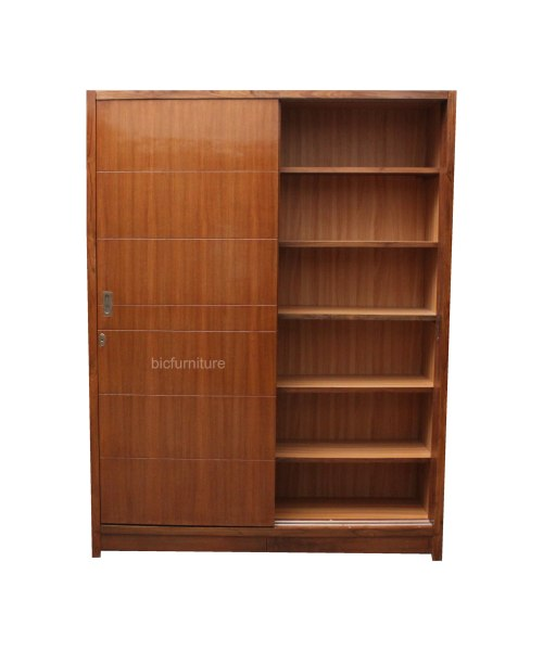 Two door sliding wardrobe in teak finish   customise to your size teakwood sliding wardrobes  Sliding wardrobes mumbai