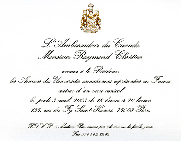 Invitation From The Ambassador Of Canada In France 03 04 2003
