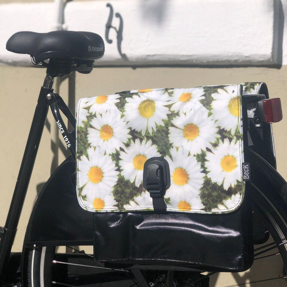 Alforjas bicicleta S –Margaritas (negro, blanco, amarillo) - Beck