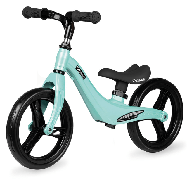 Bicicleta sin pedales verde menta y negro, 12 pulgadas – Kidwell Force