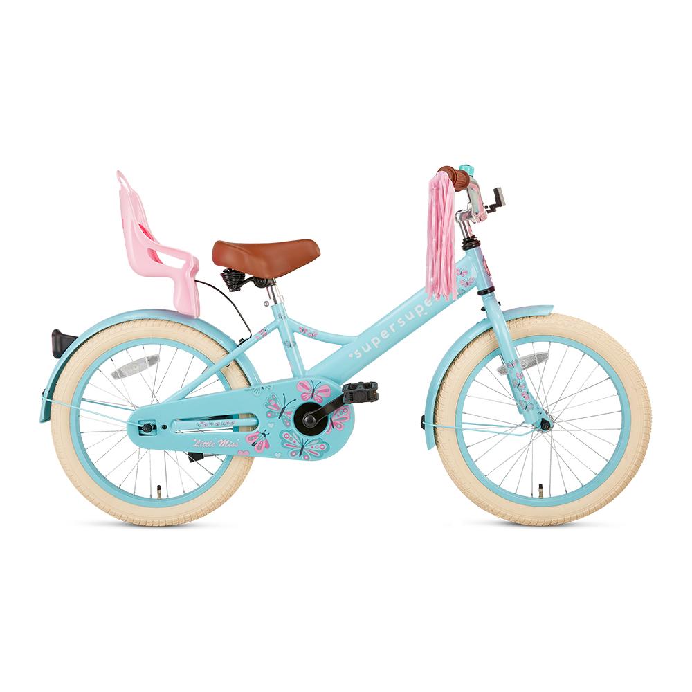Bicicleta Little Miss - 18 pulgadas – azul claro con detalles en rosa – Super Super